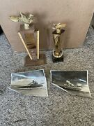 2 Vintage 1950's Hydroplane Speedboat Trophy With Two Pictures Race Photos