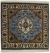 Blue Thick Pile Hand-knotted New Kirman Square 3x3 Oriental Wool Area Rug Carpet