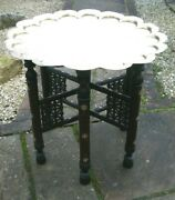 Antique Islamic Carved And Inlaid Folding Side Table With Brass Tray