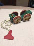 Vintage Brio Sweden Wood Pull Along Toy Car Green Red Four Wheels
