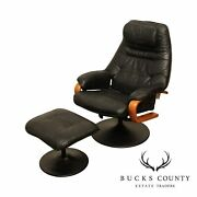 Chairworks Sabatinni Collection Black Leather Recliner Lounge Chair With Ottoman