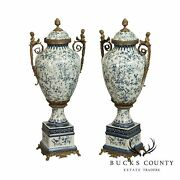 Qua. Louis Xvi Style Blue And White Porcelain Pair Bronze Mounted Tall Urns Vases