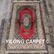 Yilong 3and039x5and039 Handknotted Silk Carpet Home Interior High Density Luxury Rug L128a