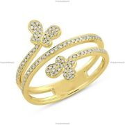 Butterfly Art Deco Fine Anniversary Ring 14k Yellow Gold Natural Diamond