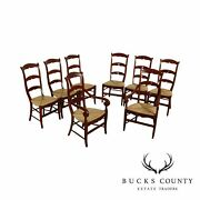Quality Set 8 Cherry Rush Seat Ladder Back Dining Chairs And039agr Parisand039