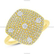 0.68 Ct Diamond Gift For Her Band Engagement Ring For Girls 14k Yellow Gold