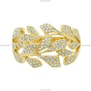 Gift For Her 14k Yellow Gold Natural Diamond Geometric Band Birthday Ring