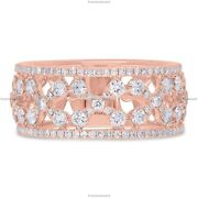Gift For Her 14k Rose Gold Natural Diamond Floral Art Deco Birthday Ring