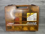 Vintage Fenwick 20 Fishing Tackle Box With Fake Bait And Hooks