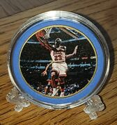 Michael Jordan 24kt Gold Plated Coin With Capsule And Stand White Brand New