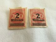 2 Germany Weimar 1923 Reich Rose Red Stamp 2 Million Over 200