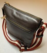 900 Bally Large Brown 100 Leather Messenger Bag With Adjustable Strap