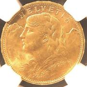 Switzerland Gold Coin 1915 Ngc Ms 65 Free Shipping Fr Jpn With Tracking 8995n
