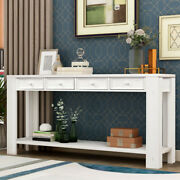 Console Table W/ Drawers And Bottom Shelf Side Desk Entryway Hallway Sofa Table