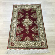 Yilong 2.5and039x4and039 Red Classic Home Decor Handknotted Silk Carpet Indoor Rug 162a