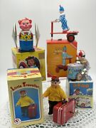Vintage 1960s Wind Up Toys Lot X 4 Little Traveller, Ice Cream Vender, Circus
