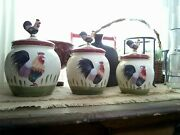 Set 3 Sizes Rooster Lids Themed Earthenware Canisters Cookie Jars Home Interiors