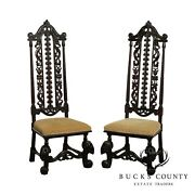 Antique Pair Jacobean Renaissance Revival Carved Mahogany Pair Carved Chairs