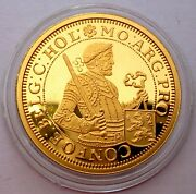 Netherlands Rijksdaalder 1687 Silver Coin Proof With 24k Gold Plated