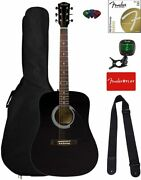 Dreadnought Acoustic Guitar - Black Bundle With Gig Bag Tuner Strings Strap