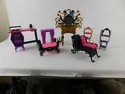 Mattel And039monster Highand039 Doll House 7 Piece Toy Plastic Furniture Lot Ec