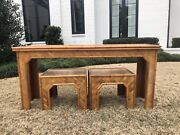 Vintage Faux Bamboo Rattan Console Table Ottoman Moroccan Free Shipping
