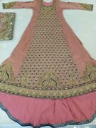 Heavy Embroidery Wedding/bridal Indian Bride/dulhan Dress/gown Tail Pink Maxi Nw