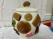 """Vintage 1950's...marked Los Angeles Pottery..""""cookies All Over"""" Cookie Jar"""