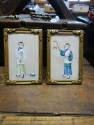 Pair Of Antique Chinese Children Toys Miniature Court Paintings In Brass Frames