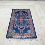 Yilong 3and039x5.5and039 Handknotted Silk Rug Classic Blue Floor Oriental Carpet Tj146a