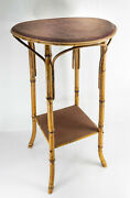Antique Decorative Rustic Bamboo Side Table Plant Stand Old Label John