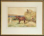 Haymaking Attributed Alfred.james Munnings Watercolor Signed And Dated 1902.