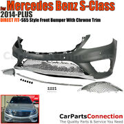 Complete Front Bumper Kit For 14-17 Mercedes S Class Amg Style Chrome Trim W222