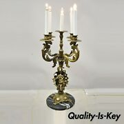 Antique French Louis Xv Figural Cherub Brass And Marble Candelabra Table Lamp