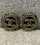 Vintage Button Earrings Cc Logo And Letters Black And Gold Clip Ons Rare