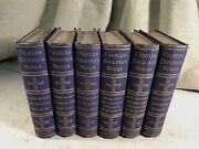 Works Of Charles Dickens Antique Victorian Decorated Books Blue Linen Gilt Decor