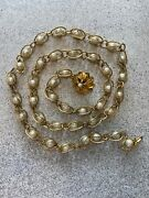 Vintage Belt/necklace Gold Tone Caged Faux Pearl W/ Flower Charm Rare