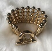 Christian Dior Vintage Runway Brass Tone Wide Row Bracelet Beaded Toggle Clasp
