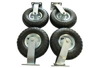 4pc 10and039and039 Pneumatic Air Tire Wheel 2 Ridgid + 2 Swivel Farm Cart Hand Truck Large