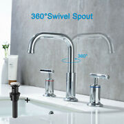 Bathroom Basin Sink Faucet 3 Holes 2 Handles Mixer Tap With Pop Up Drain Stopper