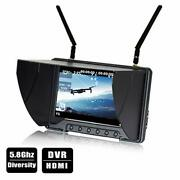 Fpv Drone Quadcopter Diversity Monitor With Dvr 5.8ghz Wireless 7 Lcd Screen