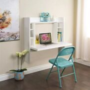 Home Wall Mounted Floating Folding Computer Desk Laptop Table W/ Bookshelf Bk Wh