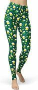 Sissycos Womenand039s St. Patrickand039s Day Green Printed Leggings Stretchy Brushed Butte