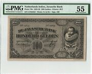 Netherlands Indies 100 Gulden 1928 Indonesia Pick 73b Pmg About Uncirculated 55