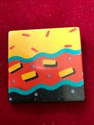 1987 Hallmark Square Colorful Eighties Abstract Graphic Plastic Hinge Pin 1.6