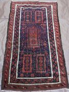 Antique Tribal Blue Balouchh Primitive Hand-knotted Wool Oriental Rug 2.6 X 4.8