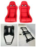 Pair 2 F1spec Type 5 Red Cloth Racing Bucket Seats Jdm For Eg Or Dc2