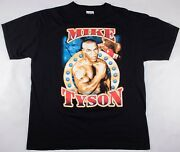 Vintage Late 1990s Mike Tyson Boxing Rap-tee Graphic Style Black T-shirt Size Xl