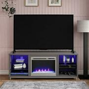 Electric Fireplace Tv Stand 70-inch Tvs Entertainment Center Glass Shelves Grey