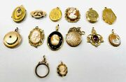 Great Estate Collection Lot Vintage Antique 12kgf Cameos Brooches Pins Pendants